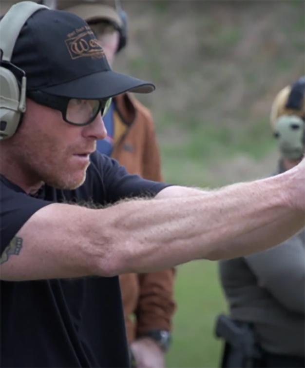 Kyle Defoor shooting Staccato handgun on the range
