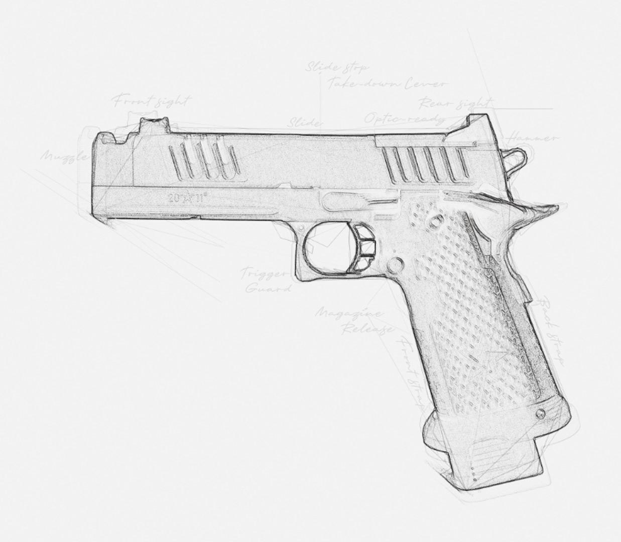 R&D sketch of Staccato handgun