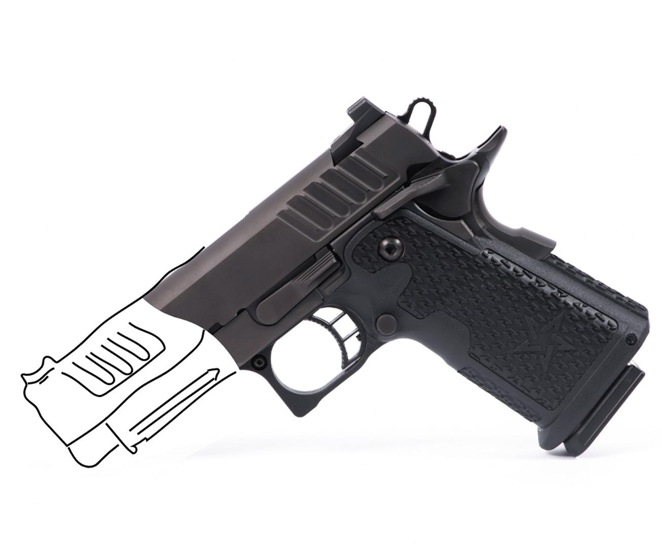 Staccato handgun with line art replacing the barrel