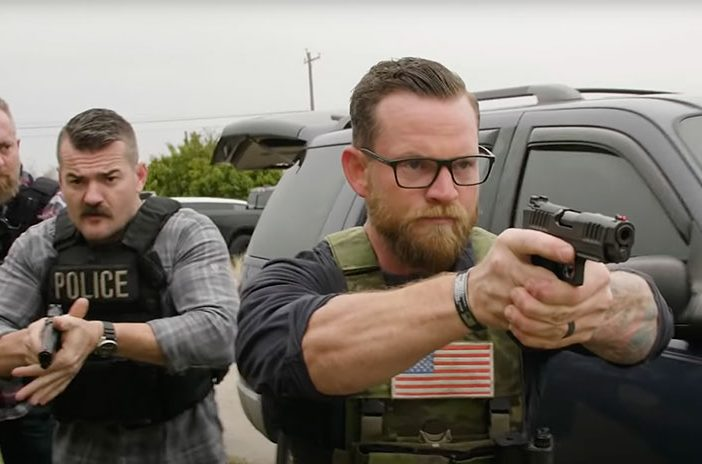 Three police officers holding Staccato handgun pistol