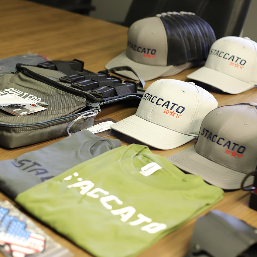 Staccato merchandise: shirts, hats, bags, etc.