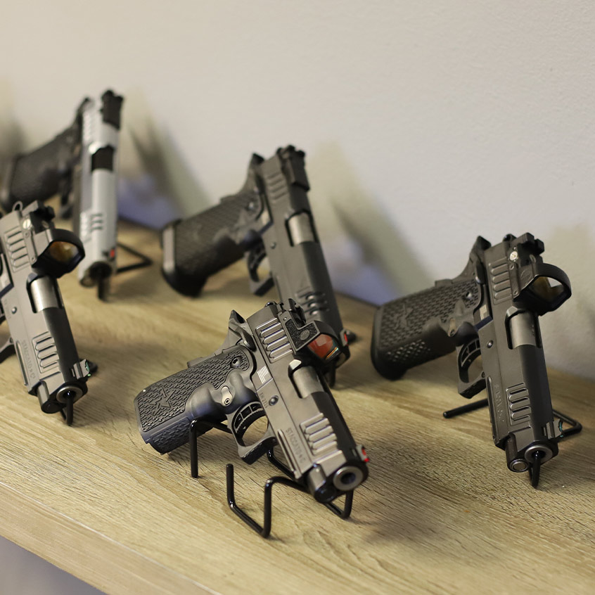 Collection of 5 Staccato handguns on display