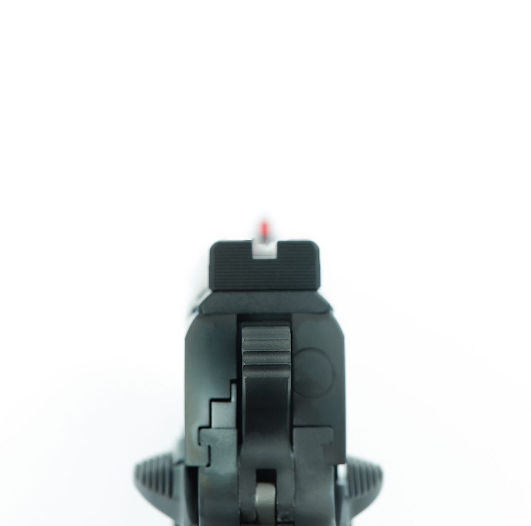 """""""Sights"""" view of a Staccato C handgun"""