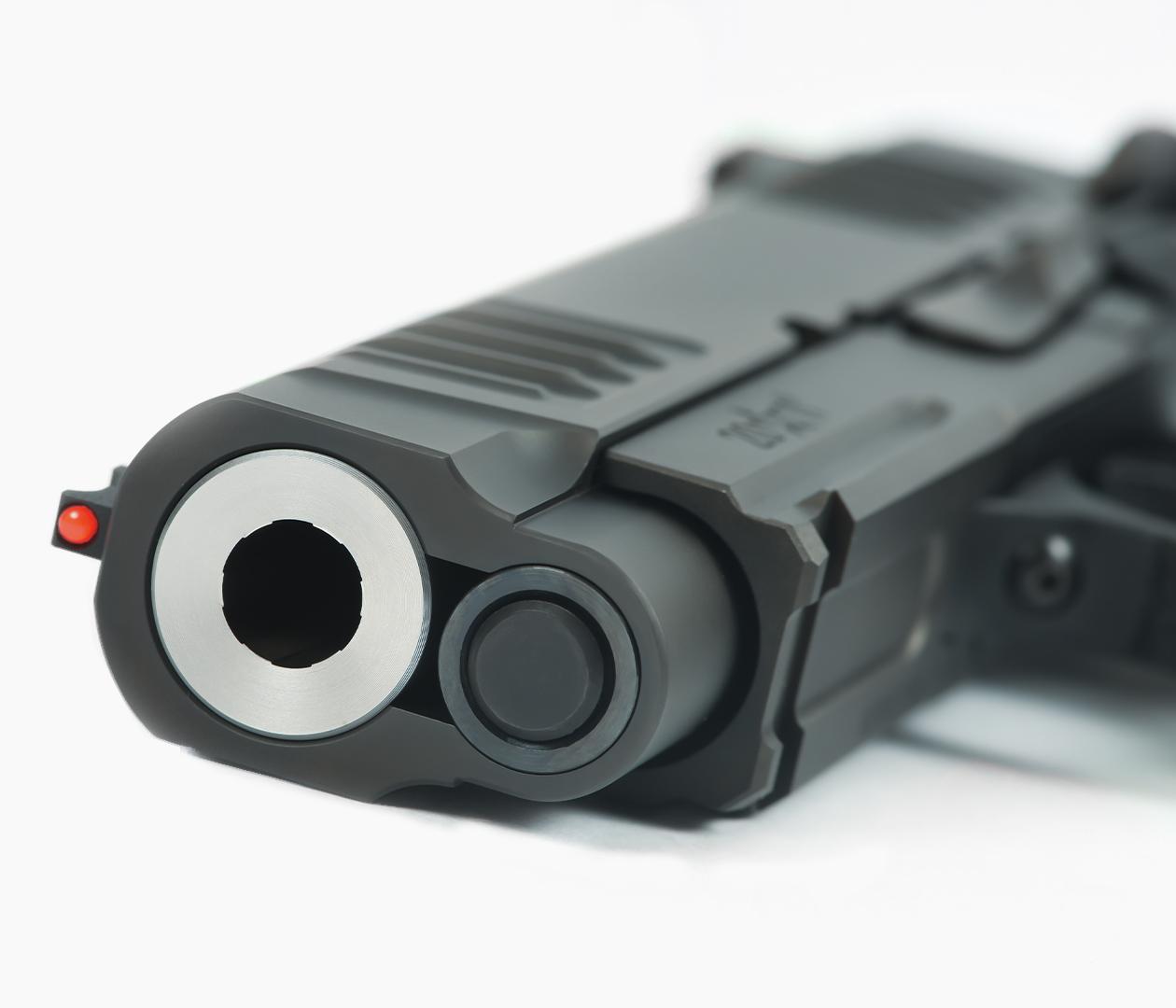 Muzzle view of Staccato C handgun