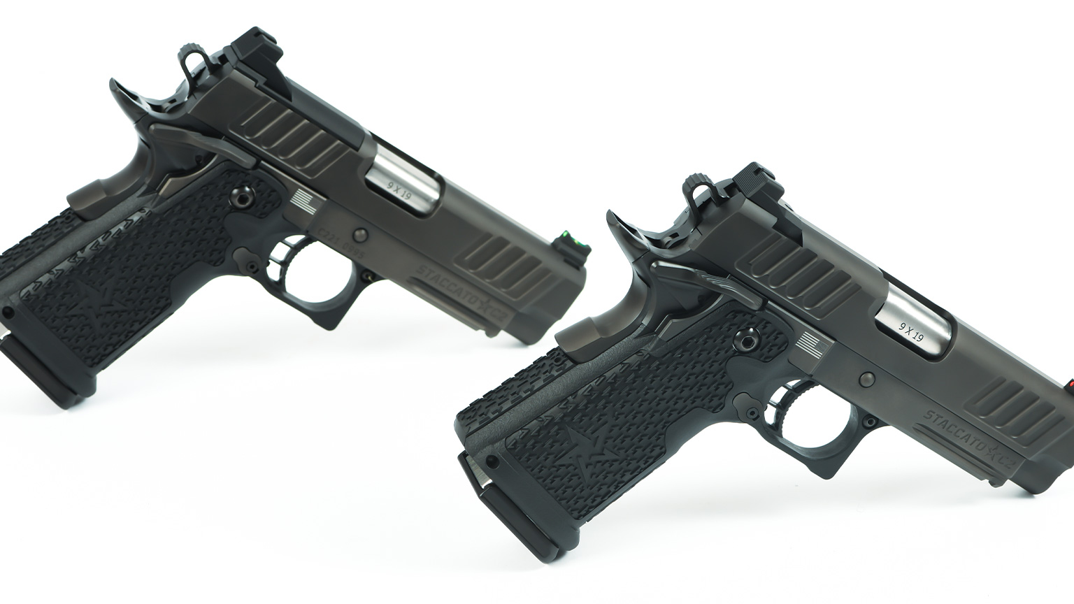 Two Staccato C2 handguns next to each other