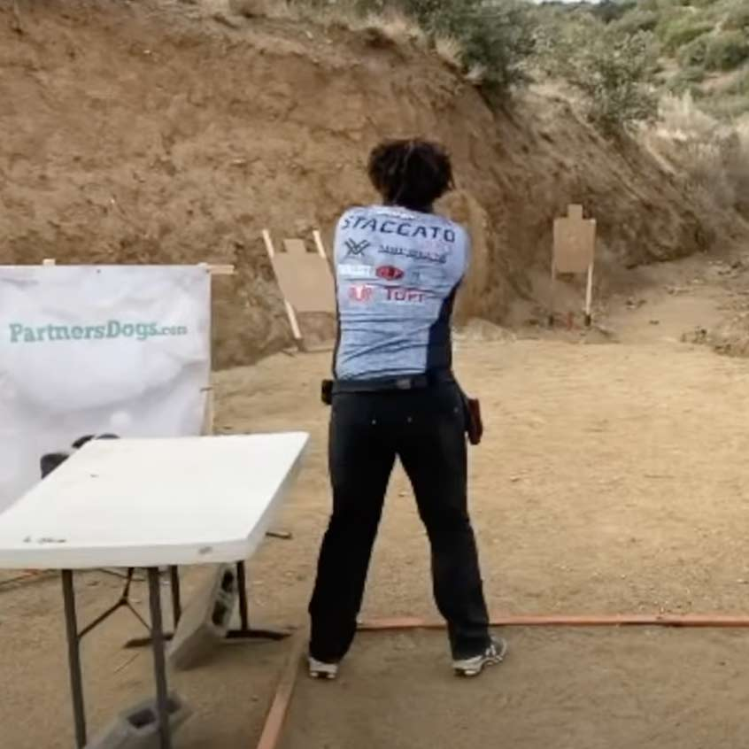 @Staccato2011 aiming Staccato handgun at target