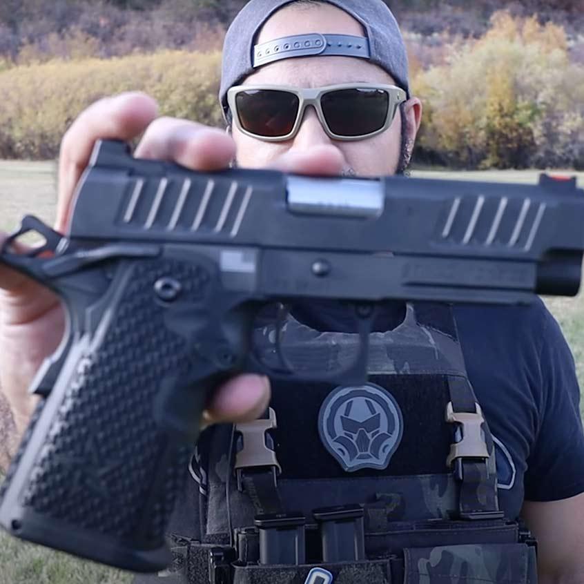 @AZ Gear Guy giving close up photo of his Staccato handgun