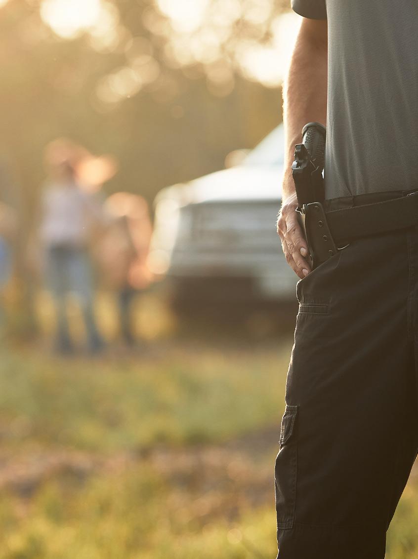 Holstered Staccato handgun