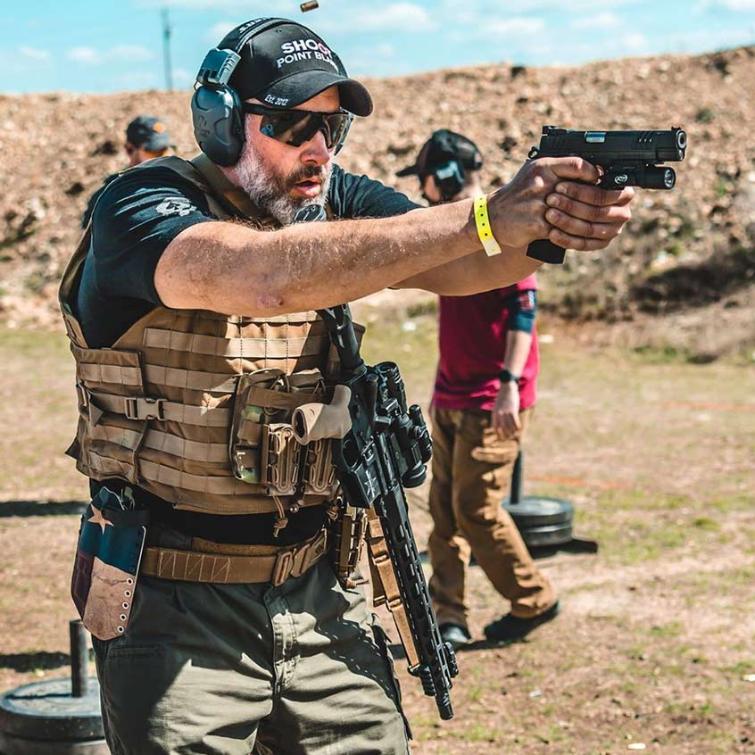 @The Tactical Games firing a Staccato handgun at the range