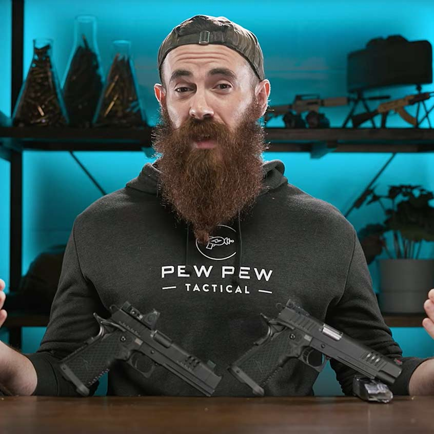@Pew Pew Tactical reviewing a Staccato handgun