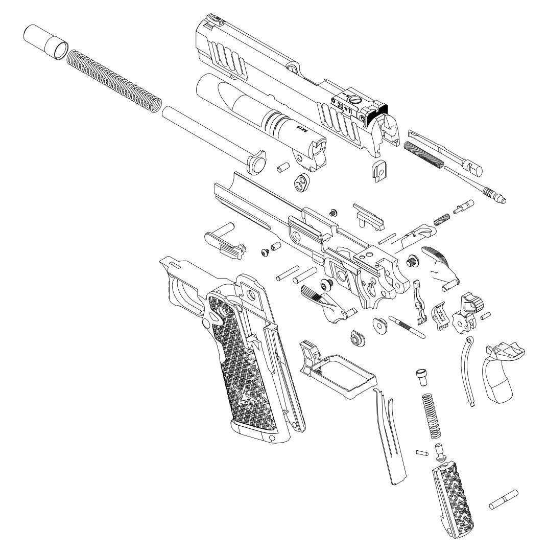Staccato P handgun exploded parts diagram