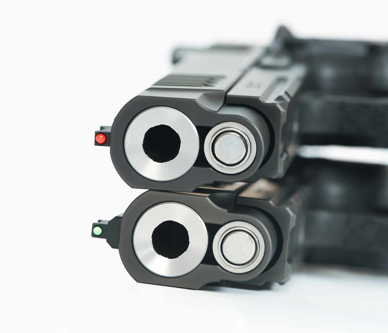 Two Staccato P handguns stacked on top of each other, muzzle view