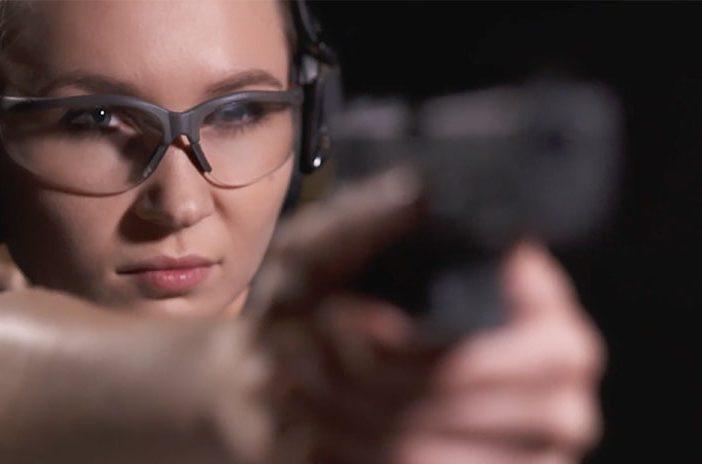 Woman with Staccato handgun pistol