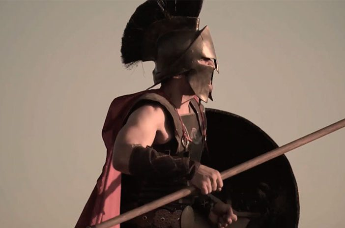 Spartan with sword and shield