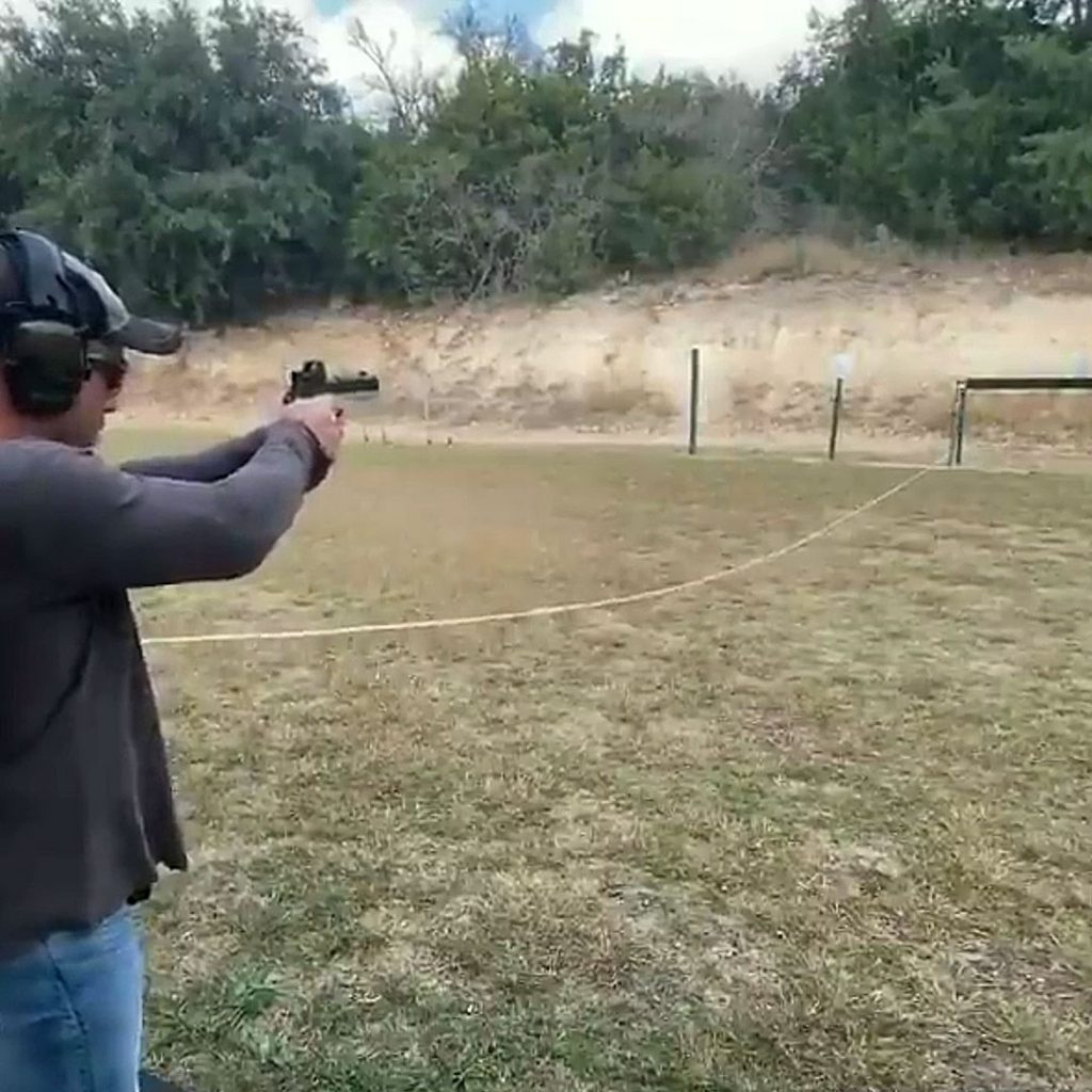 Joe Rogan shooting Staccato handgun pistol