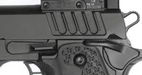 Staccato handgun with slide stop attatched